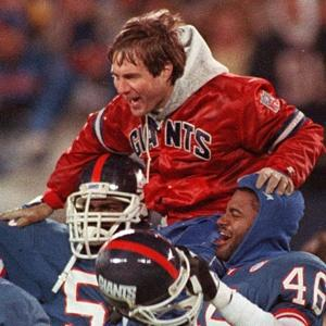 Belichick donning his red jacket after winning Super Bowl XXV